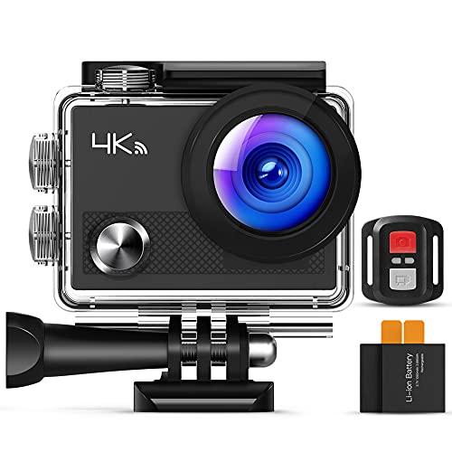 Cámara de Acción, Wi-Fi Ultra HD 4K, Cámara Subacuática 30M con Control Remoto, EIS, 2 Baterías, Vídeo en Bucle, Time Lapse, Soporte 32G-64G