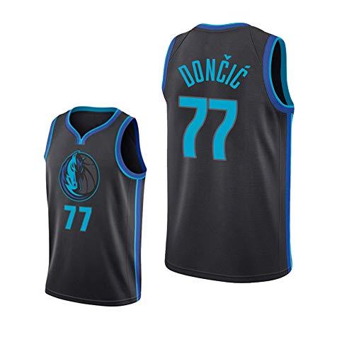 ZZH NBA Dallas Mavericks #77, Luka Dončić Sports NBA Jersey, Uniformes Baloncesto para Adultos,Ropa Deportiva Entrenamiento Sin Mangas Unisex,Black 1-S
