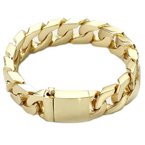 Oro riempito 24kt diamante taglio Cuban Link Chain Bracciali 14.1 MM Garantito, USA Made! e base placcata in oro, cod. scdcb11mm