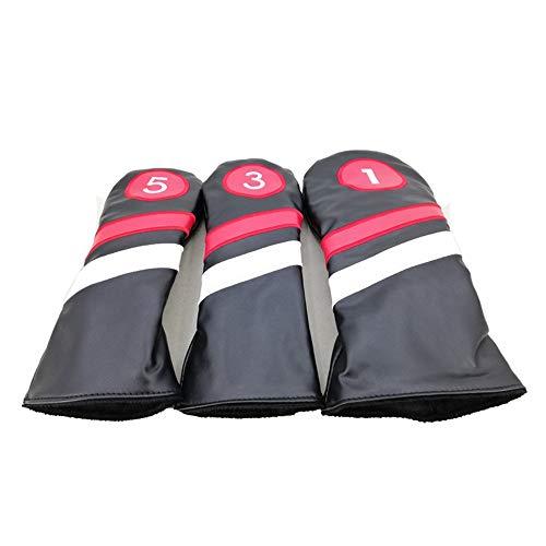 Golf-Schlägerkopfhüllen Golfschlägerkopfhaube PU Golf Putter Headcover Set 1/3/5 Standardgröße Golfschlägerkopfhauben passen for die meisten Eisen (Farbe : Black Suit, Größe : Free)