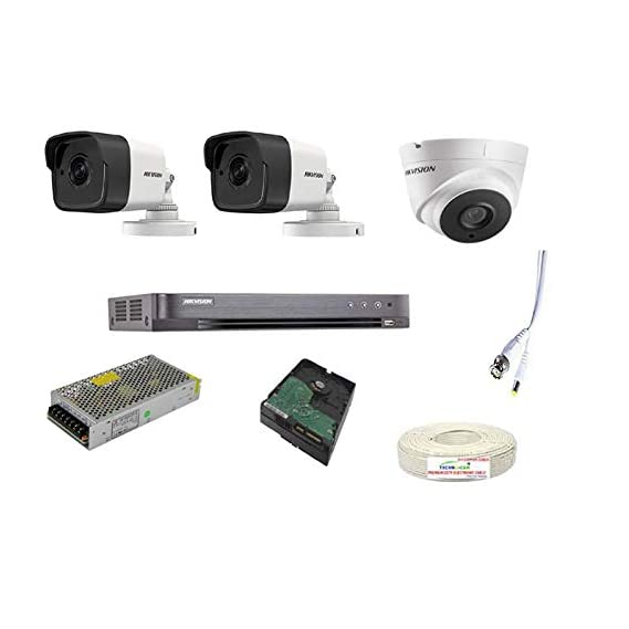 HIKVISION Full HD 5MP Cameras Combo KIT , 2 Bullet Cameras + 1 Dome Cameras+1TB Hard DISC+ Wire ROLL +Supply & All Required CONNECTORS+DVR , Techno-Krat