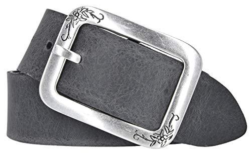 Mytem-Gear Damen Leder Gürtel Belt Ledergürtel Rindleder 40 mm Damengürtel kürzbar (90 cm, Grau)