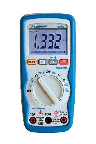 PeakTech 3320 – True RMS Digital Multimeter NCV mit Vibrationsalarm, 6000 Counts, Handmultimeter, Kapazität, Messung, Spannungsmesser, Autorange, Durchgangsprüfer, Messgerät, Strom - CAT III 600 V