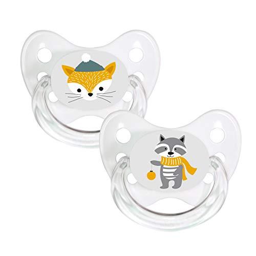 Dentistar® Silikon-Schnuller 2er Set mit Kappe - Größe 3, ab 14 Monate - Winter Schnee - zahnfreundlich und kiefergerecht - BPA frei - Fuchs + Waschbär
