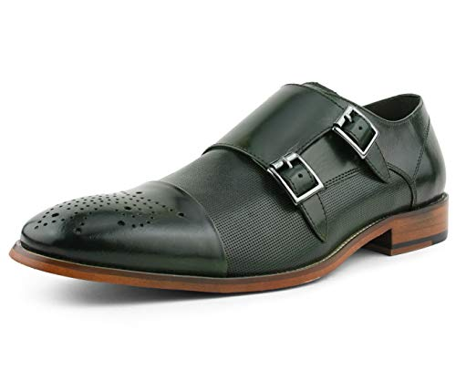 Asher Green AG1101 - Men's Dress Shoes, Formal Mens Shoes - Genuine Calf Leather Shoes for Men - Cap Toe Double Monk Strap - Color: Green, Size: 12