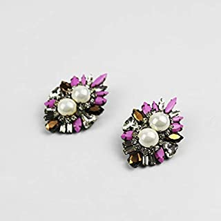 New Fashion Earring shourouk Style All Crystal Pearl Earring Design Statement shourouk Earrings for Women Wholesale 891 - (Metal Color: 2)