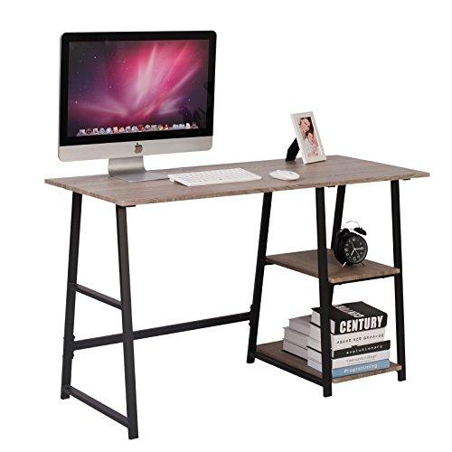 WOLTU Escritorio Mesa de Trabajo Mesa de Oficina Mesa de Ordenador portátil con 2 estantes, de Madera y Acero 120x50x73cm Gris TSG25gr