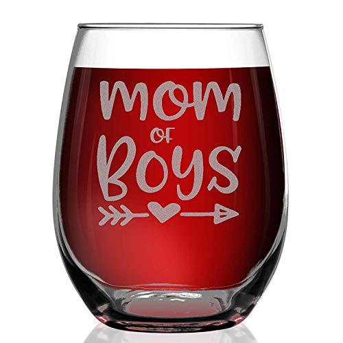 XJJ88 Moeder Van Jongens Gegraveerd Stemless Wijnglas ~ Cadeau voor Jongen Mama ~ (12 oz.) Graveren Art Rode Wijnglas