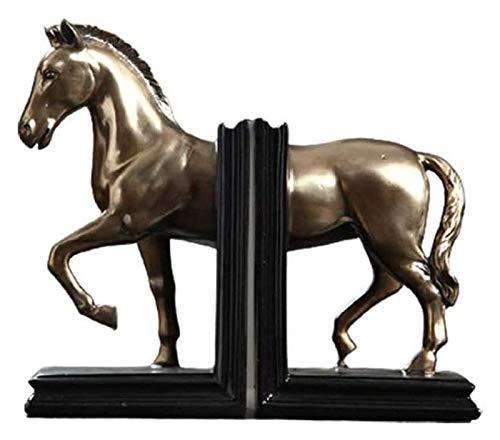 WQQLQX Statue Dekorative Buchstützen Pferd Statuen Dekorative Tierskulpturen schwere Bücherregale Buchstützen Home/Office/Schule Buchstützen Set Figuren Skulpturen