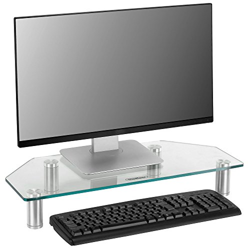 VonHaus Glass Corner Monitor Stand - Adjustable Height Screen Riser for PC Monitors, Computers, Laptops & TVs - 24 x 10 inches - Clear