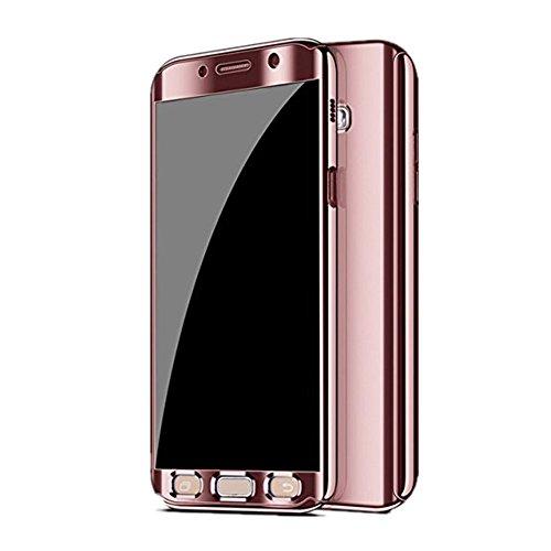 Kompatibel Samsung Galaxy S7 Hülle, Samsung Galaxy S7 Edge Hüllen 3 in 1 Ultra Dünner PC Harte Case 360 Grad Ganzkörper Spiegel Schutzhülle für Galaxy S7/S7 Edge (Samsung Galaxy S7 Edge, Rose Gold)