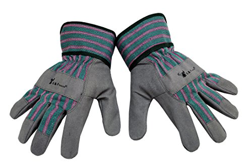 G & F 5009L JustForKids Synthetic Leather Kids Garden Gloves, Kids Work Gloves, Grey, 7-9 years old