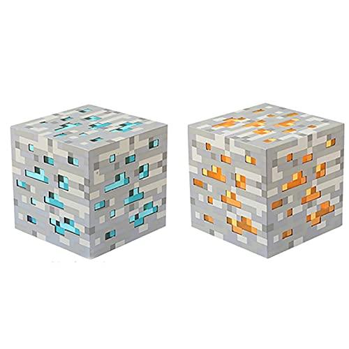 SGTHYJ Creatividad 2 Piezas Lámpara de Lava de Minecraft,Led Figura de Acción Diamond Ore,Ideal para Mesas Y Mesas de Noche,Escritorios Y Juegos de Pc,Regalos de Juguete para Niños. (4 Colores)