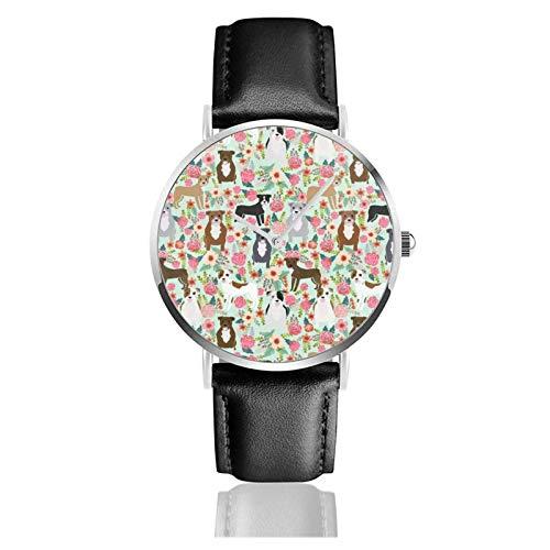 Pitbull Florals Abrigos mixtos Regalos de Pibble Reloj para perros Movimiento de...