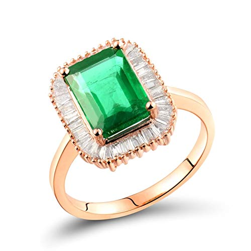 AtHomeShop Real Gold Collection, 18K Rose Gold Rings, Engagement Rings with Sparkling Rectangular Emerald and Diamond Marriage Proposal Ring for Fiancee, Proposal Marriage, Polished Rose Gold