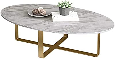 HTTXCJ Drawer Console Table Oval Coffee Table, Cross Metal Frame, Suitable for Living Room, Balcony X8C8J8