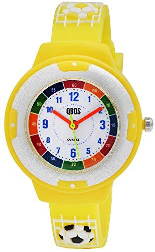 QBOS Kinder-Uhr Silikon Fußball Lernuhr Analog Quarz 4500022 (gelb)