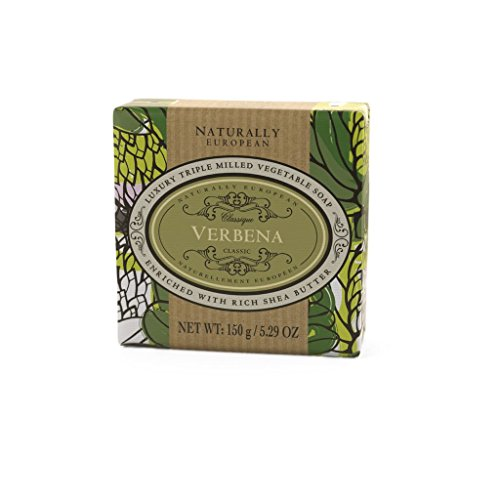 Naturally European Verbena Wrapped Luxurious Triple Milled Vegetable Soap Bar - 150g | For Men and Women, Face and Body | Moisturizing Body Wash Soap Bar