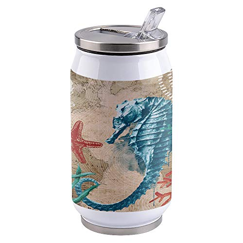 10oz Stainless Steel Liner Vacuum Tumbler Nautical Hippocampus Thermal Insulation Vacuum Cup with Straw & Slider Lid Ocean Animal Portable Cola Can for Travel, Sports, Camping