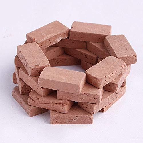 200 ladrillos en miniatura, escala rojo/gris modelo ladrillo para construir niños, paisaje, mesa de arena, bloques pequeños de hormigón