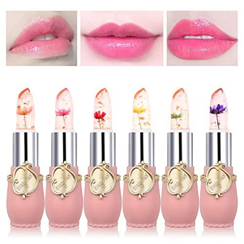 Mengxin 6 Piezas Set Pintalabios Magico Larga Duracion Hidratante Brillo de Labios Transparente Labial Magico Que Cambia de Color Cumpleaños Navidad Regalo de San Valentín para Mujeres Niñas