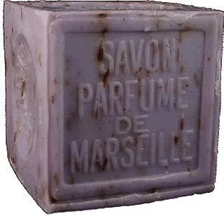 Savon de Marseille (Marseilles Soap) - Lavender Soap Exfoliating Cube 300g - Handcrafted Pure French Soap with Crushed Provençal Lavender