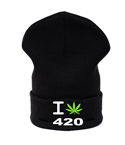 Beanie hat Bonnet Fashion Jersay Oversize Bad Hair Day Fresh I Love Gunja 420 Weed Leaf