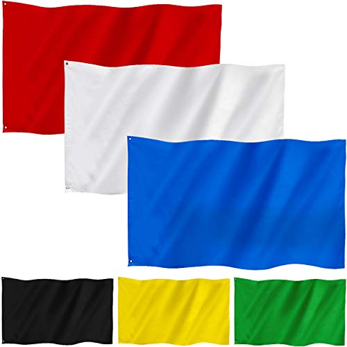 6 Pieces 3 x 5 Feet Solid Plain White Flag/Multicolor Flags Pure Color DIY Flags SilkTaffeta Stitched Blank Flags Banner with Grommets for DIY Garden Backyard Playground Decoration (Multicolor)