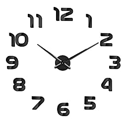 SOLEDI Clock from Silent Wall Precision Make from Te 60-120cm Easy to mount 3D Effect Fill Empty Modern Wall Adhesive Clock Wall Decoration for House, Office, Hotel (Silver/Black)