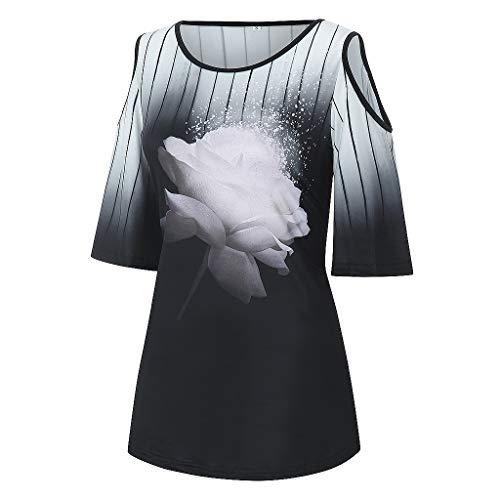 x8jdieu3 Frühling und Sommer Damen Plus Size Lose 3D-Blumendruck Rundhalsausschnitt Trägerloses Kurzarm-T-Shirt Damenoberteile