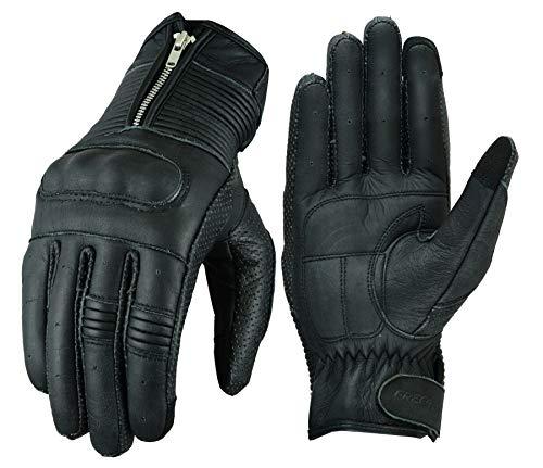 FREEDAY Guanti in pelle vintage per l'estate, guanti in pelle da uomo, classici, estivi, nero FD-420 XL Nero