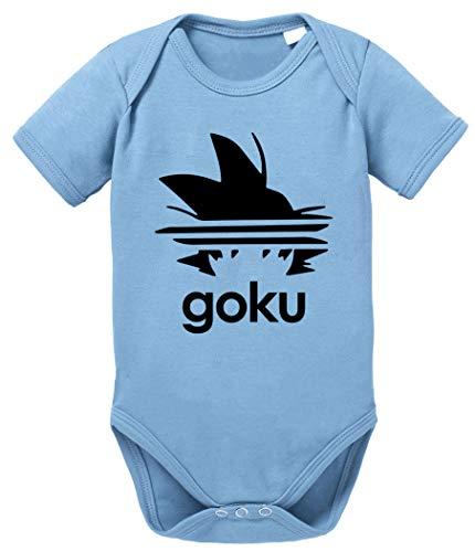 Tee Kiki Adi Goku Body Dragon de algodón orgánico Ball Son Proverbs Baby Romper para niños y niñas de 0 a 12, Größe2:56/0-2 Meses, Baby:Azul Bebé