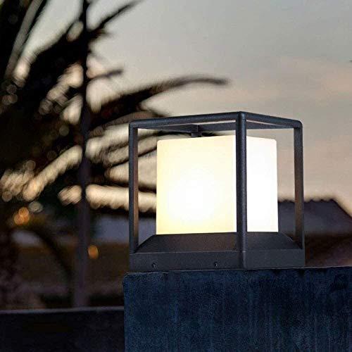 Lámpara De Pared Simple Y Fresca Luz del césped Tabla moderna industrial IP65 impermeable al aire libre pilar jardín lámpara del poste Muro patio paisaje Columna ligera cuadrada Cubo Negro de aluminio