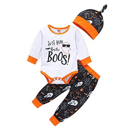 NBAA Kleinkind Baby Jungen Mädchen Halloween Cartoon Bedruckter Dreiteiliger Anzug Baby Langarm Halloween Karikatur Brief Drucken Strampler Body + Hosen + Hut Outfits (3-18 Monat)