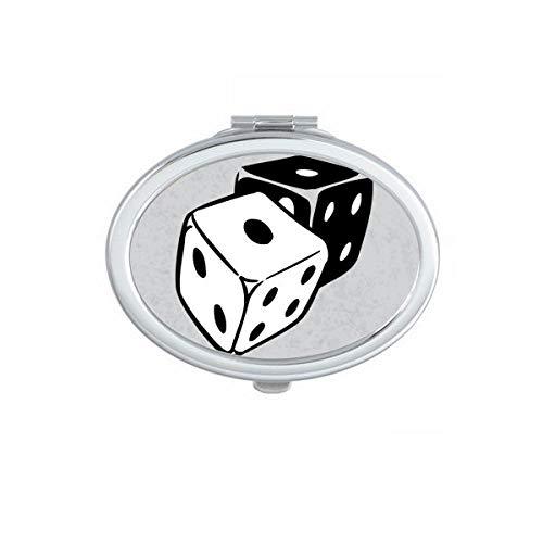 DIYthinker Skull Dice Cool Effects Illustration Ovale Miroir de Maquillage Compact Portable Mignon Miroirs de Poche à la Main Cadeau Multicolor