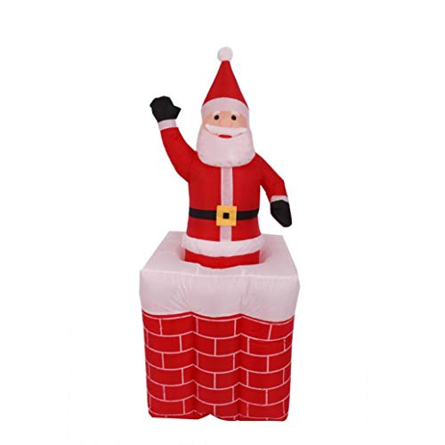 ZYX Weihnachtsmann Aus Dem Schornstein Selbst Aufblasende Aufblasbare LED-Leuchten Weihnachten Indoor-Und Outdoor Angehoben Und Gesenkt 1,3-1,6 M
