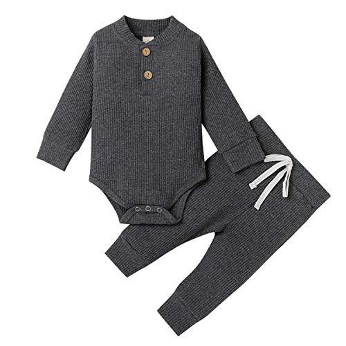 Geagodelia Babykleidung Set Baby Jungen Mädchen Kleidung Outfit Langarm Body Strampler + Hose Neugeborene Kleinkinder Weiche Einfarbige Babyset T-50753 (Dunkelgrau, 0-3 Monate)