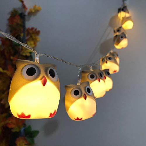 FENG LED-Licht, Halloween neue Eule Lichterkette Schnur-Partei-Garten-Dekoration beleuchtet Schnur (Beige)