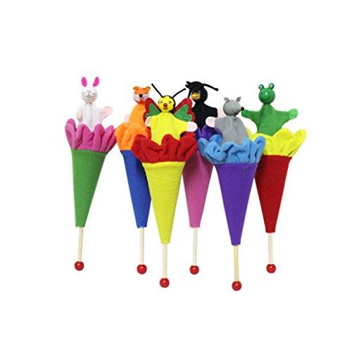 cdhgsh 6 Piezas Animales títeres Hide & Seek bebé niños Pop Up Cono Juguete Educativo Juguete Animales títeres