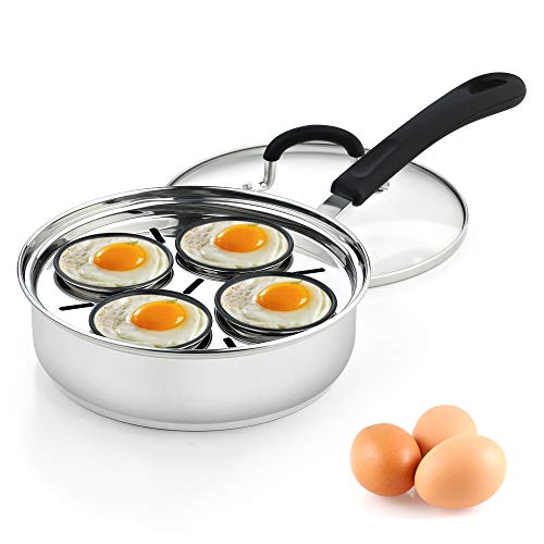 Cook N Home 4 Cup Stainless Steel Egg Poacher Pan 8'