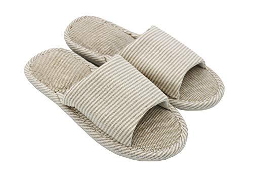 APIKA Mujeres y Hombres Zapatillas de Punta de Lino de algodón con luz Suave Abierta Zapatillas de casa cómodas y Transpirables Antideslizantes para Interiores y Exteriores(38/39 EU,Beige)