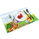 Winnie Pooh Placemats for Dining Table Set of 4, Non-Slip and Heat-Resistant Washable Plate Mat Table Mat