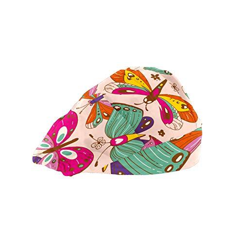 ASIGA Gorra de trabajo para mujer con banda de algodón ajustable, gorro elástico ajustable, mariposas coloridas, cubiertas para el pelo para hombres