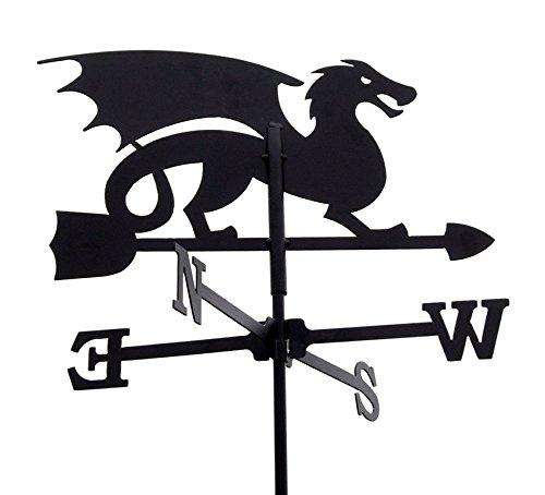 Svenska Wetterfahne Windfahne Windspiel Drache schwarz aus Metall klein Höhe 63,7 cm