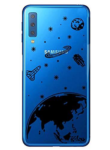Oihxse Mode Transparent Silicone Case Compatible pour Samsung Galaxy J2 Coque, Ultra Mince Souple TPU Mignon Animal Série Protection de Housse Anti-Scrach Bumper Etui -Planète