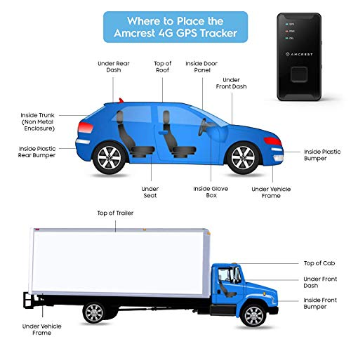 Amcrest GPS GL300 GPS Tracker for Vehicles (4G LTE) - Portable Mini Hidden Real-Time GPS Tracking Device for Vehicles, Cars, Kids, Pets, Assets, Text/Email/Push Alerts, Twin Magnet Weatherproof Case