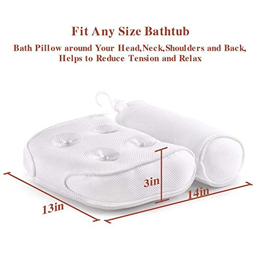 Samplife Bath Pillow Spa Bathtub Cushion Head,Neck,Shoulder and Back Support Rest with 4 Non-Slip Strong Suction Cups
