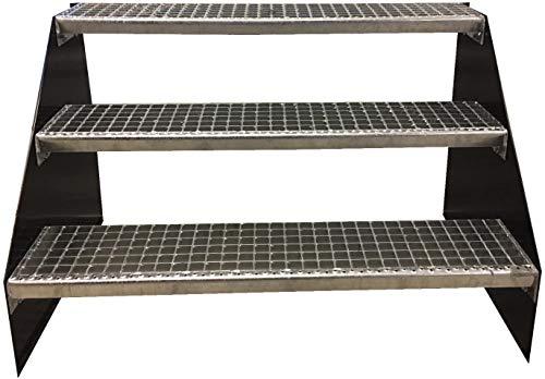 3 Stufen Standtreppe Stahltreppe freistehend Breite 130cm Höhe 63cm Anthrazitgrau/Robuste Außentreppe/Stabile Industrietreppe für den Außenbereich