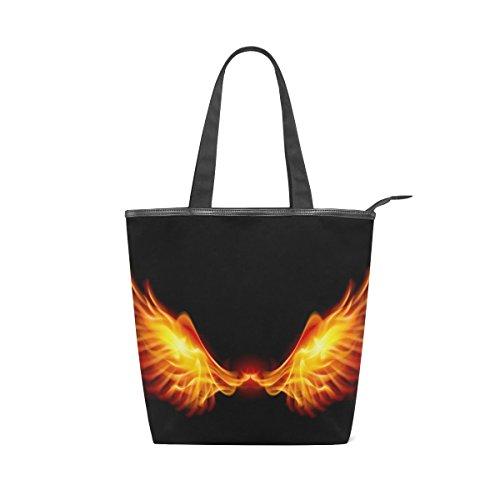 Bolsa de ombro Alaza feminina de lona com asas de fogo