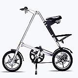 AINY Bicicleta Plegable De Aluminio De 16 Pulgadas Bicicletas para Adultos 6 Velocidad Bicicleta Eléctrica 21 Velocidad De Bicicletas Bicicletas Plegables,Plata,14in